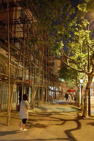 上海、竹の足場、プラタナス