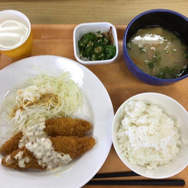 白身魚フライ、オクラ、豚汁。久々に学食に来れたー!#今日の昼ごはん