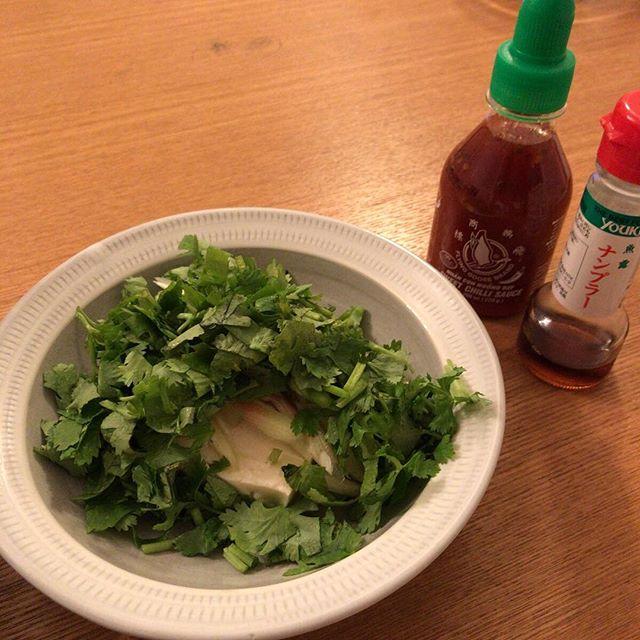 「これはサラダですか?」「いいえ冷奴です。」(パクチー好きすぎてこうなる。スイートチリソースとナンプラーかけて今から食べる。)#Tofu with #Thai #sweetchilisauce and #nampla