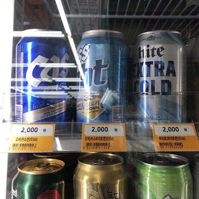 もう日本に帰って来てますが韓国出張の記録をメモ的に。コンビニにて。ビールの相場はこんな感じ。ウォンからゼロを一つとると円になる計算(だいたい)。日本とほぼ同じだよね。