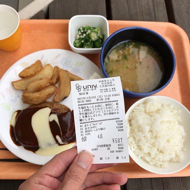 チーズフォンデュハンバーグ、オクラ、豚汁、ごはん。#今日の昼ごはん