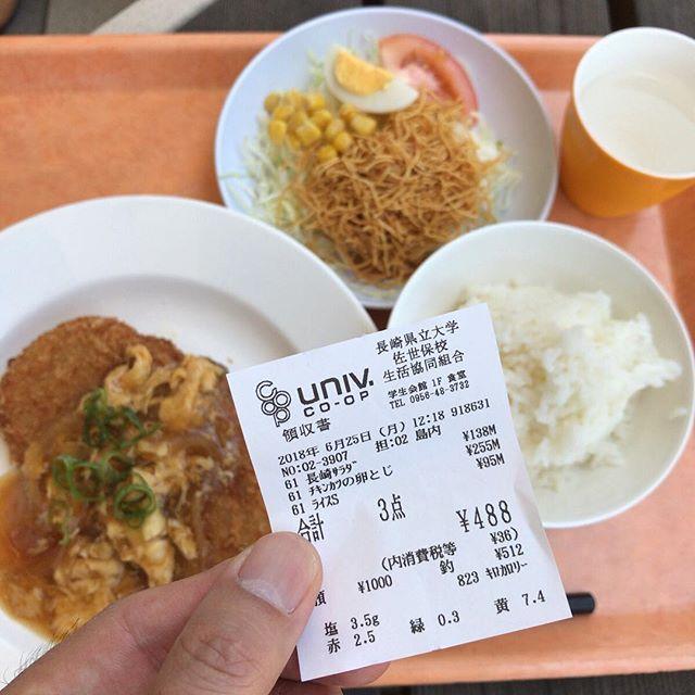 パリパリ麺がのった「長崎サラダ」。レジに並んでる時にパリパリをつまみ食いしたくなった(けどしてない)。#今日の昼ごはん