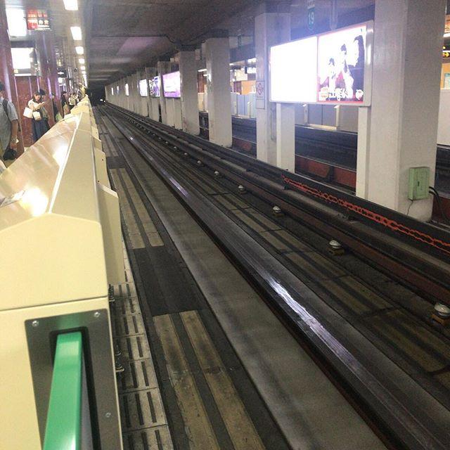 札幌の地下鉄、南北線。乗り心地なんか違うなと思ったらやはり鉄路ではなくタイヤ式(正式名称知らない)。#今日の一点透視図法