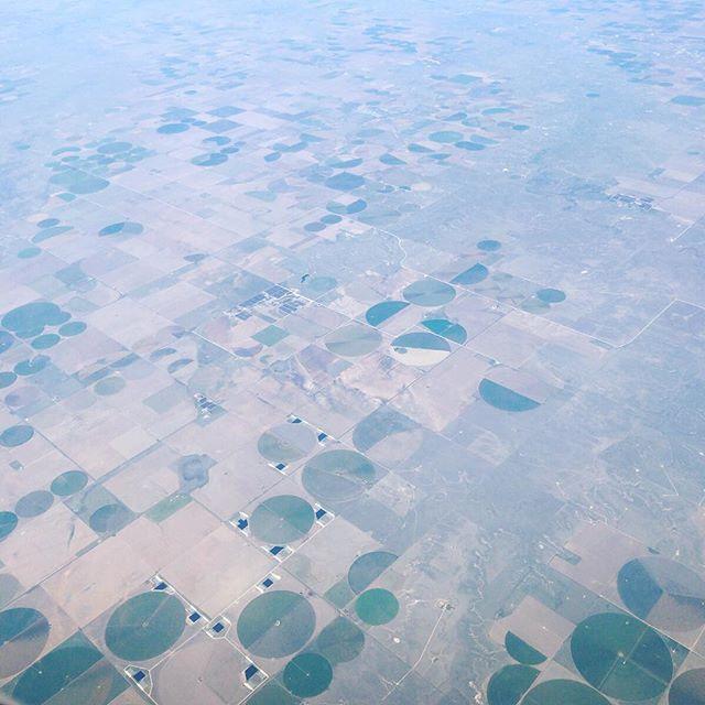 アメリカのどこか中西部。丸い畑は農薬や水のホースをコンパスのように回すのかな、と想像。#アメリカ #usa