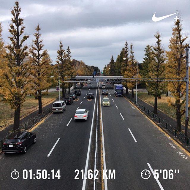 人生最長ラン。1人ハーフマラソン。これでハーフマラソンのレースに出る自信がついた。#今日の一点透視図法