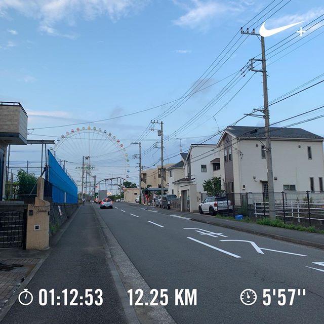 近所の遊園地(かなり急な坂を登った丘の上にある)を通り過ぎて多摩川まで下り、橋を渡るというのが今日の目的地でした。#running #jogging #ランニング #ジョギング  #nrc #今日の一点透視図法
