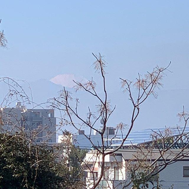 小学校の前の歩道橋から富士山が見えることを発見!この歩道橋、普段は通るルートではないので気がつかなかった。Found out a Fuji-view spot, a foot bridge just in front of the school.